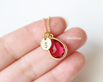 Personalized Ruby Pink Stone necklace in gold, Ruby necklace, Initial Coin necklace, Disc, Wedding Jewelry, Bridesmaid gift, Birthstone