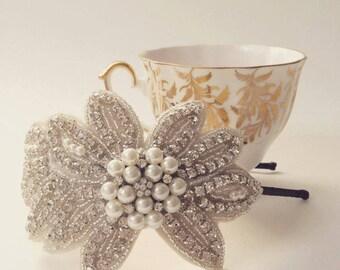 "Bridal Headpiece ""Etta"" Vintage style Side Tiara, Bridal Head Piece, Old Hollywood Glamour, Wedding Headband, bridal comb, Bridal Accessorie"