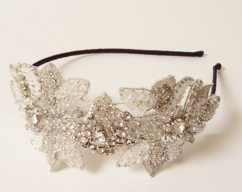 "Bridal Headband ""Lavinia"" Beaded Vintage Style Lace Crystal Bridal Side Tiara - Headpiece - Hairpiece - Wedding Accessories"