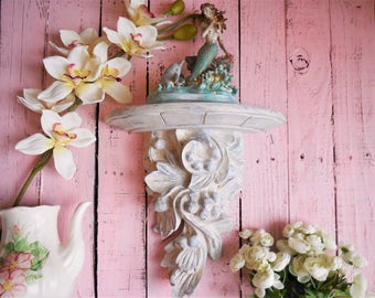 Large Antique White Wall Sconce, Baroque Style Hand Painted Home Decor, French Country Cottage, Shabby Chic