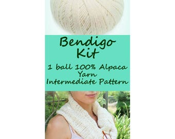 Crochet Infinity Scarf Pattern KIT – Luxurious Layers Collection – Crochet Scarf – Textured Scarf & Alpaca Yarn