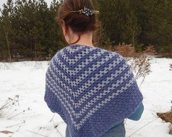 Crochet shawl, knitted shawl, blue gray shawl, triangular shawl, handknit shawl, hygge shawl, winter shawl, cozy wool shawl, knitted wrap