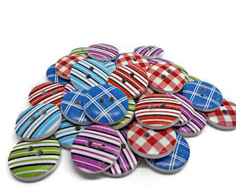 10 stripy buttons, checked buttons, gingham buttons, plaid buttons 15mm buttons, sewing buttons, colour button mix, cardmaking buttons