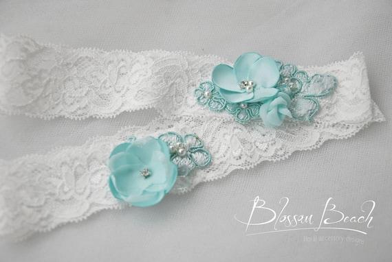 off white stretch lace garter set;bridal garters;white and aqua lace garter set;wedding garters