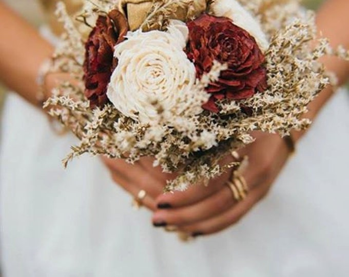 Small burgundy ivory gold rustic wedding BOUQUET sola Flowers, dried limonium, Burlap Handle, Flower girl, Bridesmaids, vintage fall toss