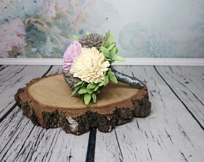 Small Ivory lilac grey rustic wedding BOUQUET sola Flowers, olive leafs, spring summer wedding, pastel bouquet, bridesmaid, cheap, toss