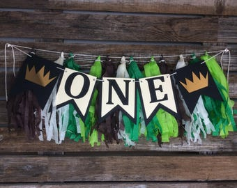 Wild One High Chair Banner - First Birthday, Baby Shower, Birthday Party, Where the Wild Things Are Inspired