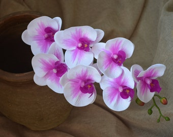 On Sales!! Purple Center Orchids Real Touch Flowers For Wedding Centerpieces Home Deco Wedding Flowers