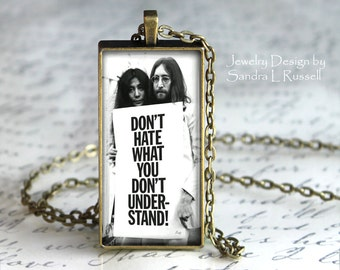 Quote Jewelry, John And Yoko Necklace, Peace and Love, Hippie Necklace, Boho Jewelry, Photo image jewelry, Gift for Girlfriend, Musician