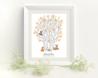 Woodland Animals Thumbprint Tree Baby Shower Guestbook Print