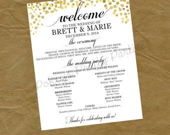WEDDING Program Printable File - gold black white