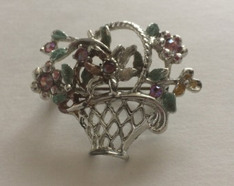 Silver Tone Flower Basket Brooch With Rhinestones