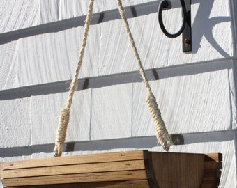 stained-natural Hanging Rustic Half moon bucket bowl style garden indoor outdoor planter wooden wood