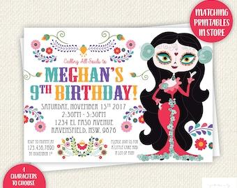 Sugar Skull Birthday Invitation, Day Of The Dead, Dia de los Muertos, printable, Digital Invite, quinceneara, sugarskull, party, girl