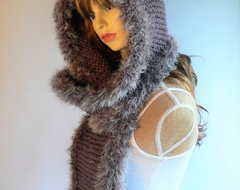 Festival Hood Hooded Cowl Hooded Scarves Pixie Hood Scoodie Gray Knit Hat Gray Hood Chunky Winter Hat Faux Fur Trim