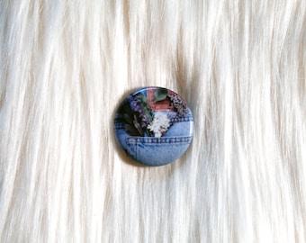 "1"" Flower Pocket Pinback Button // Summer Aesthetic Pin"