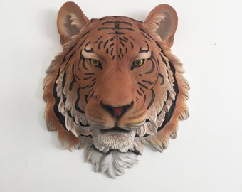 ANY COLOR Faux Taxidermy Tiger Head Wall Mount // Safari Nursery // 3D Animal Bust // Cincinnati Bengals // Jungle Cat // Wall Sculpture //