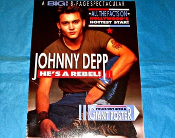 Very Rare Johnny Depp Gatefold Poster Film Memorabilia Big Magazine 8 Page Spectacular Pull-Out He's A Rebel! Movie Star American Actor