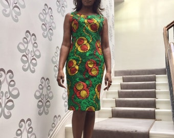 African Print Dress  Hand Made by Hope & Lily Cotton Short Sleeveles multi coloured size 16
