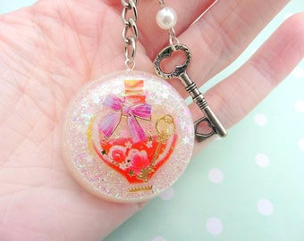 Cute Resin Love Potion and Key Keychain