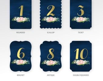 The JENNY . Table Numbers . Die Cut 5 x 7 Printed Cards . Choose Any Shape . Gold & Navy Chalkboard Ranunculus Rose Pink Peony Dusty Miller