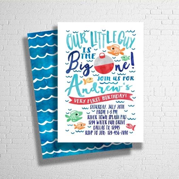 The Big One Fishing Invitatation Fishing Birthday Invitation
