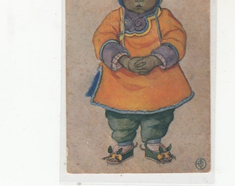 Genghis Khan Unusual Asian Girl Antique Postcard-Chinese Tunic-Bunny Hat-Mice Slippers Must See