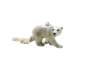 Polar Bear Necklace, Charm Necklace, Charm Jewelry, Bear Pendant, Polar Bear Jewelry, Polar Bear Charm, Arctic Bear Charm, Wildlife Necklace