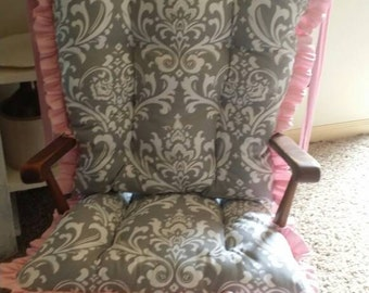 custom osborne damask rocking chair cushions glider replacement pads rocker cushions wooden rocking chair pads - Wooden Rocking Chair Cushions
