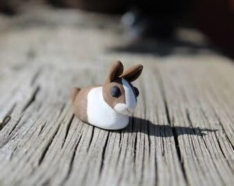 Cute Miniature Brown Agouti Dutch Bunny Rabbit Pet Sculpture