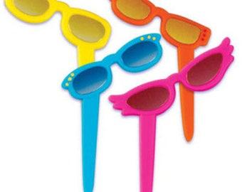 24 Metallic Lens Sunglasses Cupcake Picks Cake Toppers Decorations Beach Summer Summertime Luau