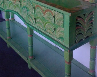 SOLD to Andrew. Carribean/Folk Art Style Hand Carved & Painted Buffet/Sideboard. Charming design for your home decor Shipping Not Included