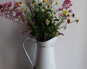 Gloriously shabby chic white, vintage French enamel ware jug, rustic French country decor circa 1930s.