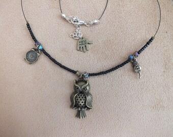 Owl necklace, clock necklace, flower necklace, bronze necklace, black necklace