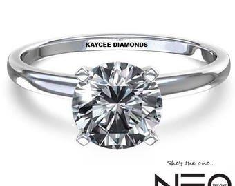 "14K Gold 3.00 Carat (9mm) Round ""Diamond Cut"" Moissanite Solitaire Ring (NEO Moissanite)"