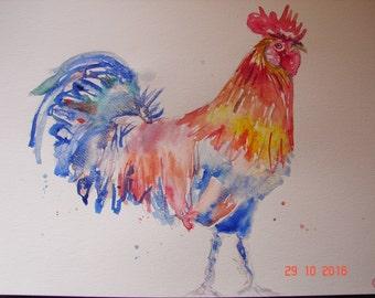 Rooster bird Watercolour Painting, Australian birds, Original Watercolour Painting, Rooster bird wall art, Australian, chicken bird art, red