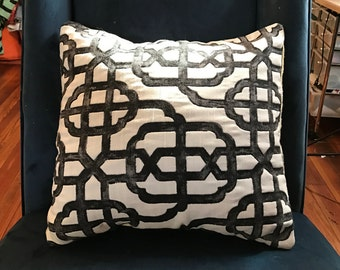 Black & White Patterned Throw Pillow by CS