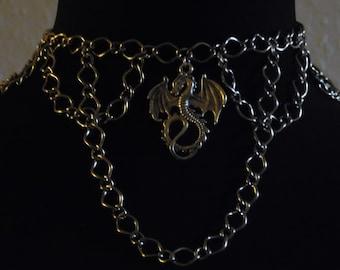 Silver Dragon Chain Choker Necklace