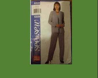 SEE AND SEW X319, sewing pattern, pantsuit, women, pant, jacket, size Small (6 - 8 - 10), sewing, pattern