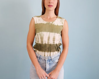 90s Vintage Green and White Tie Dye Grunge Tank