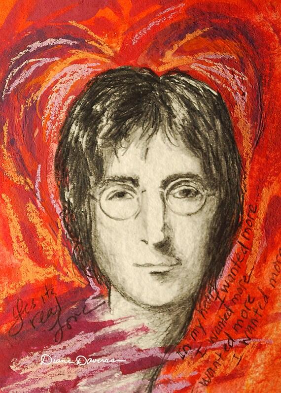 John Lennon The Beatles Rock n Roll Legend Portrait Mixed Media Gouache & Pastel Painting Vintage Lifestyle Art Print