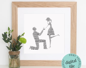 Personalised ENGAGEMENT GIFT - Word Art - Printable - Unique Engagement Gifts - Digital Art Print - Engagement Gifts - Gift for Couple