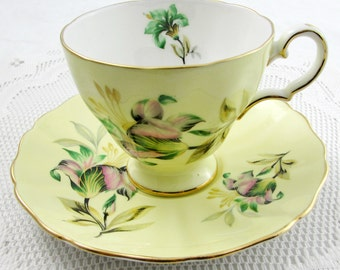Yellow Tea Cup and Saucer with Flowers, Made by Grosvenor, Vintage English Bone China