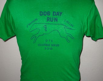 Vintage Original 1970s 1980s 1981 2nd Annual Dog Day Run Columbus Soft Thin Made in USA Hanes T Shirt M