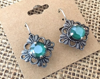 Vintage Style Filigree Swarovski Crystal Dangle Earrings- Royal Green- Lever Back Earrings