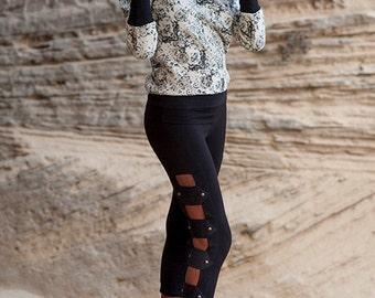 PIRATE legging ,alternative leggings,lowwaist legging,sexy leggings, handicraft legging, bands leggings, 3/4 legging,
