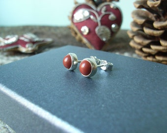 Red Jasper & Sterling Silver Stud Earrings. 5mm Round Cabochons - Notched Posts with Butterfly Backs.