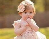 Felt flower headband - blush and ivory - flower nylon headband -  Blush Blossom with white rose bud