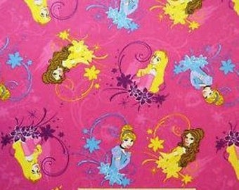 Disney Princess Flannel Fabric Royal Debut Badges Toss REMNANT