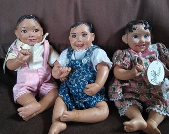 Vintage and RETIRED Daddy Long Legs - Daddy's Babies - LOT of 3 Dolls
